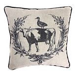 Jordan Manufacturing Printed Cow, Pig, Rooster Decorative Throw Pillow