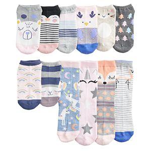 Disney Fancy Nancy Socks For Girls 6 Pair No Show Shoe Size 10-4 Shoe Size 10-4 Little Girls