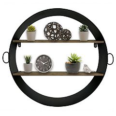 Belle Maison Round Black Metal with 2 Shelves