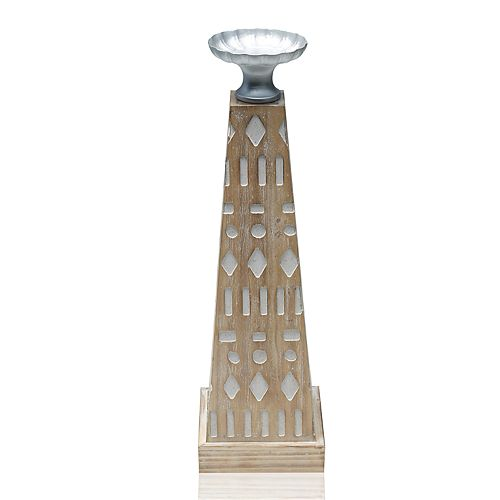 Scott Living Oasis Wood Pillar Candle Holder