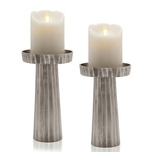 Scott Living Oasis Silver Wave Etched Candle Holder
