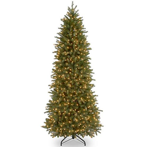 National Tree Company 9 ft. Jersey Fraser Fir Pencil Slim Tree with Clear Lights