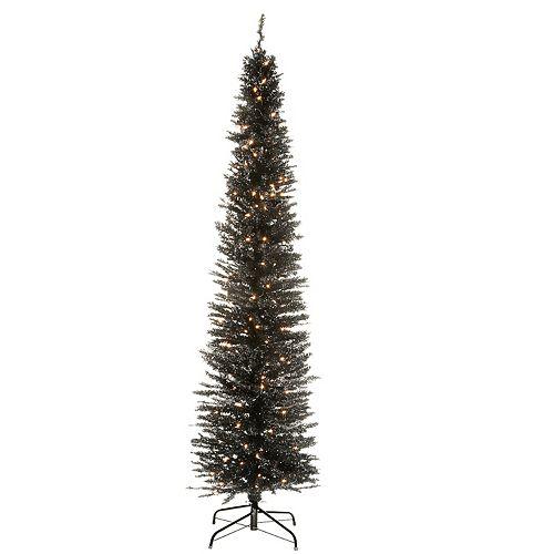 National Tree Company 7-ft. Pre-Lit Black Tinsel Artificial Christmas Tree