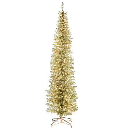 National Tree Company 7-ft. Pre-Lit Champagne Tinsel Tree