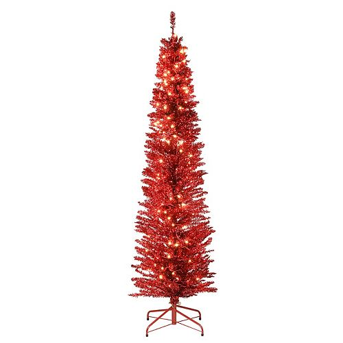 National Tree Company 6-ft. Pre-Lit Red Tinsel Tree