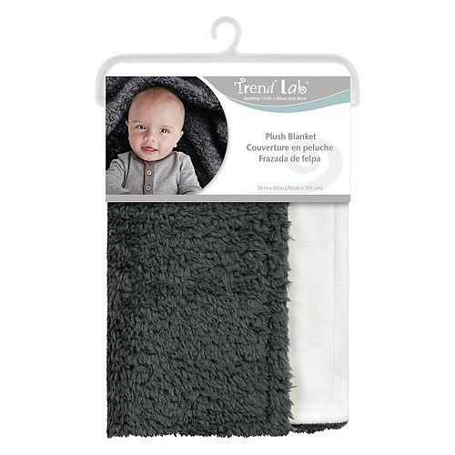 Trend Lab Gray Plush Baby Blanket