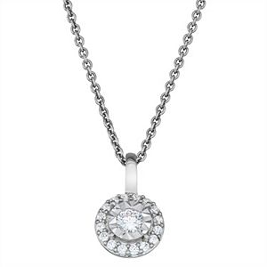 Made For You Sterling Silver 1/5 Carat T.W. Lab Grown Diamond Halo Pendant