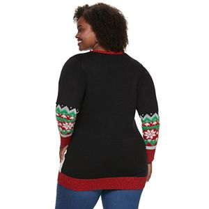 Plus Size US Sweaters Trimmed Tree Christmas Pullover Tunic Sweater