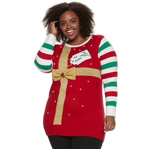 Plus Size US Sweaters Trimmed Tree Christmas Pullover