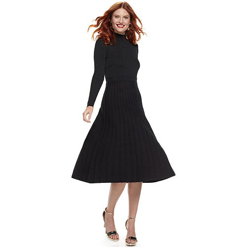 Women's Nine West Pleated Long Sleeve Sweater Dress by Nine West
