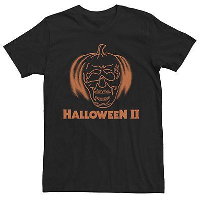 Men's Halloween 2 Jack-O-Lantern Skull Orange Outline Tee