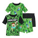 Boys 6-12 Minecraft Creepers Creep 4-Piece Pajama Set