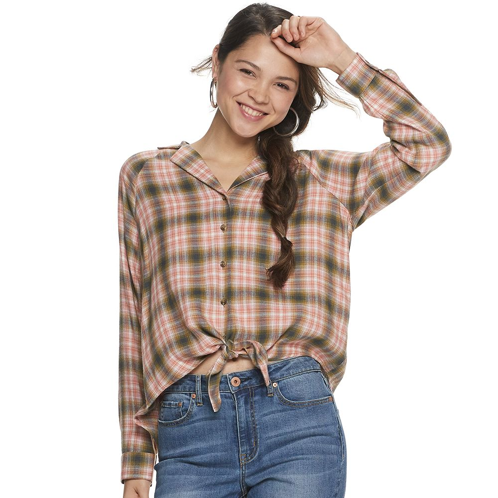 Juniors' Mudd® Knotted Front Top