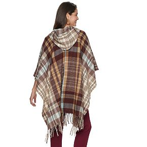 Women's Style Collective Twill Plaid Hooded Poncho