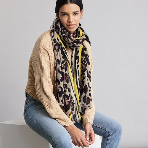 Women's Elizabeth and James Leopard Blanket Scarf with Stripe