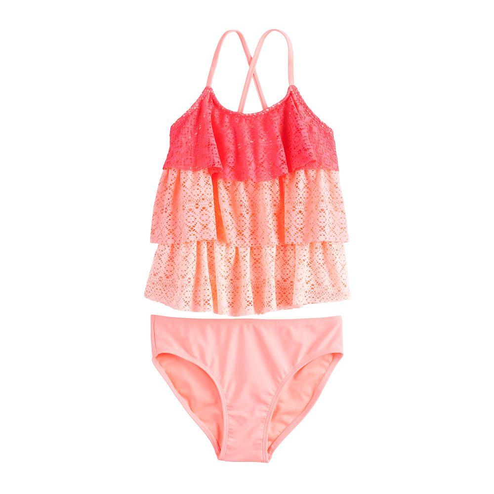 Girls 4-16 & Plus Size SO® Crochet Tankini and Bottoms Set