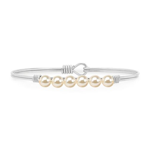 Luca + Danni Simulated Pearl Bangle Bracelet in Classic White