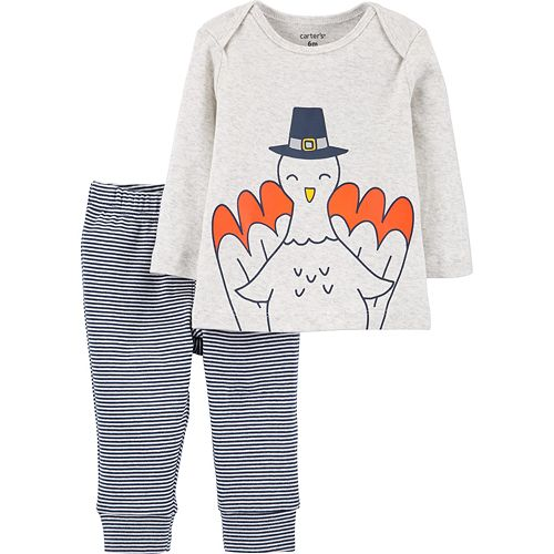 Baby Boys Carter's 2-Piece Thanksgiving Turkey Top & Striped Pant Set