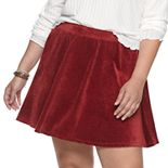 Juniors' Plus Size SO® Corded Velour Skater Skirt