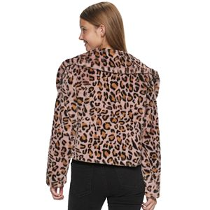 Juniors' Candies® Animal Print Short Faux Fur Jacket With Collar