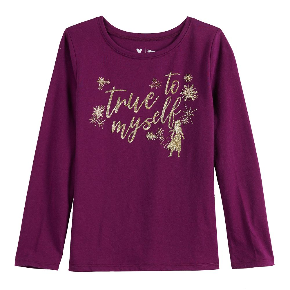 """Disney's Frozen 2 Girls 4-12 """"True to Myself"""" Long Sleeve Tee by Jumping Beans®"""