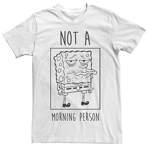 Men's Spongebob Not A Morning Person Outline Portrait Panel Tee