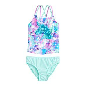 Girls 4-16 SO® Magic Unicorn Flip Sequins Tankini and Bottoms Swimsuit Set