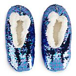 Girls 4-9 Flippable Sequin Fuzzy Babba Slipper Socks