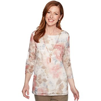 Women's Alfred Dunner Attached Necklace & Floral Texture Top