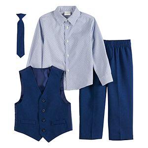 Toddler Boy Van Heusen 4-Piece Heather Poplin Vest Set