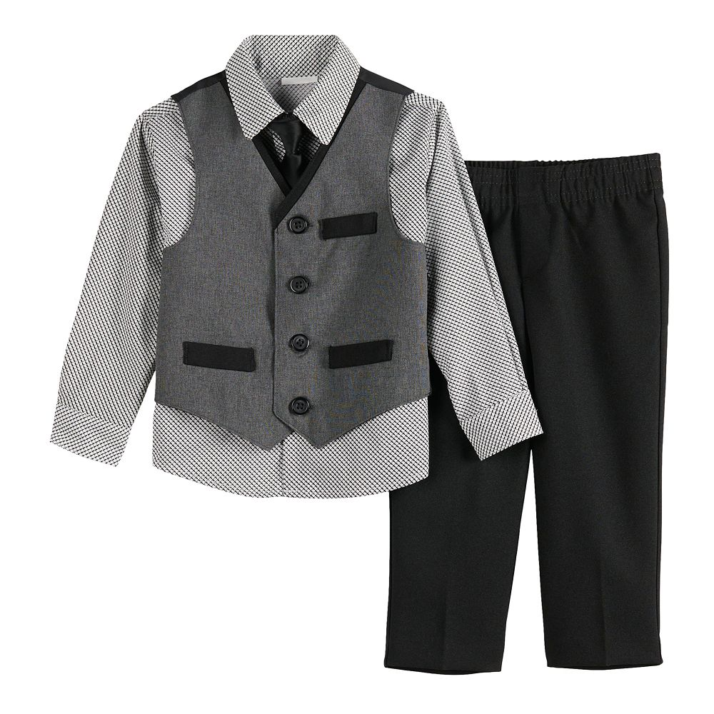 Toddler Boy Van Heusen 4-Piece Heather Poplin Vest Set