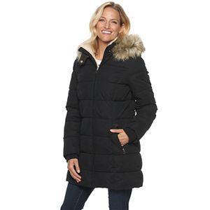 Women's Halitech Microfiber Puffer with Bib Faux Fur Trim Hood Coat