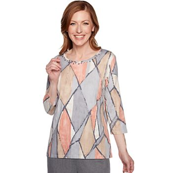 Women's Alfred Dunner Geometric Embellished Top