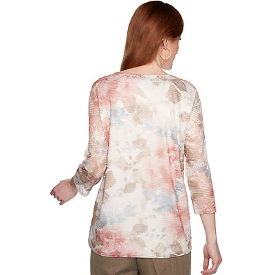 Petite Alfred Dunner Attached Necklace & Floral Texture Top