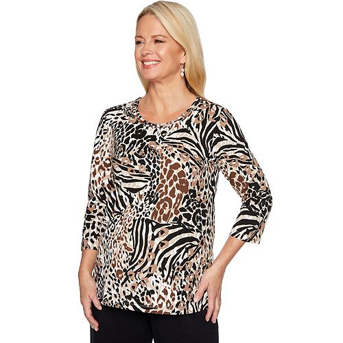 Petite Alfred Dunner Beaded Animal Print Top