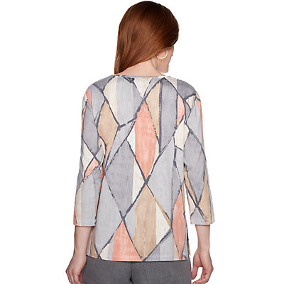 Petite Alfred Dunner Geometric Embellished Top