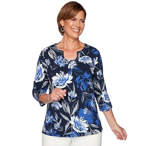 Petite Alfred Dunner Beaded Floral Top