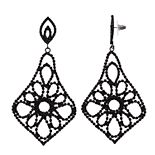 Simply Vera Vera Wang Jet Lace Chandelier Flower Drop Earrings