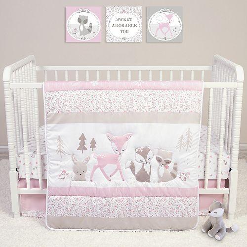Woodland Friends 3 Piece Forest Animal Girl Baby Crib Bedding Set Rose Pink
