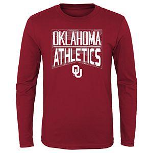 NCAA Oklahoma Sooners Boys Short Sleeve Color Blocked Crew Neck T-Shirt Crimson Medium