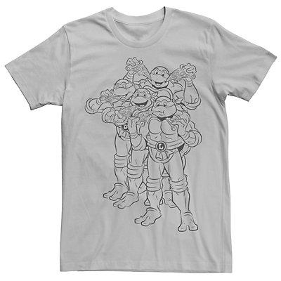 Men's Ninja Turtles Outline Group Shot Short Sleeve Tee