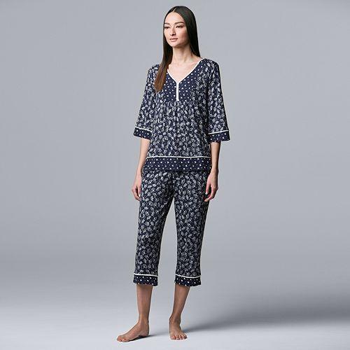 Women's Simply Vera Vera Wang Pajama Tee & Pajama Capri Set