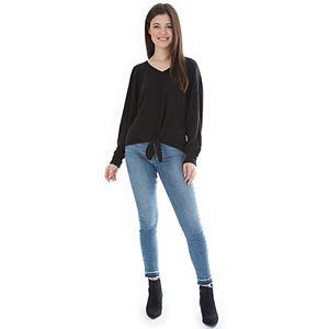 Juniors' IZ Byer Top V-Neck Long Dolman Sleeve Shirt
