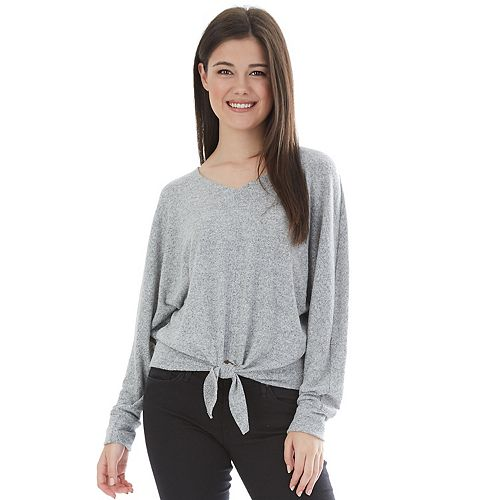 Juniors' Iz Byer Top V Neck Long Dolman Sleeve Shirt by Iz Byer