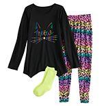 Girls 4-18 SO® Tunic Top, Leggings & Socks Set