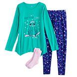 Girls 4-18 SO® Top, Leggings & Socks Pajama Set