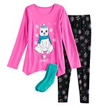 Girls 4-18 SO® Winter Themed Top, Leggings & Socks Pajama Set