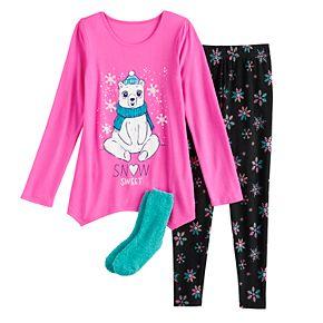 Girls 4-18 SO Winter Themed Top, Leggings & Socks Pajama Set
