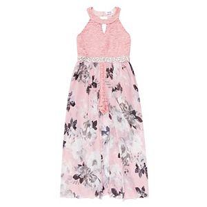 Girl's 7-16 Speechless Sleeveless Lace Chiffon Walkthru Dress