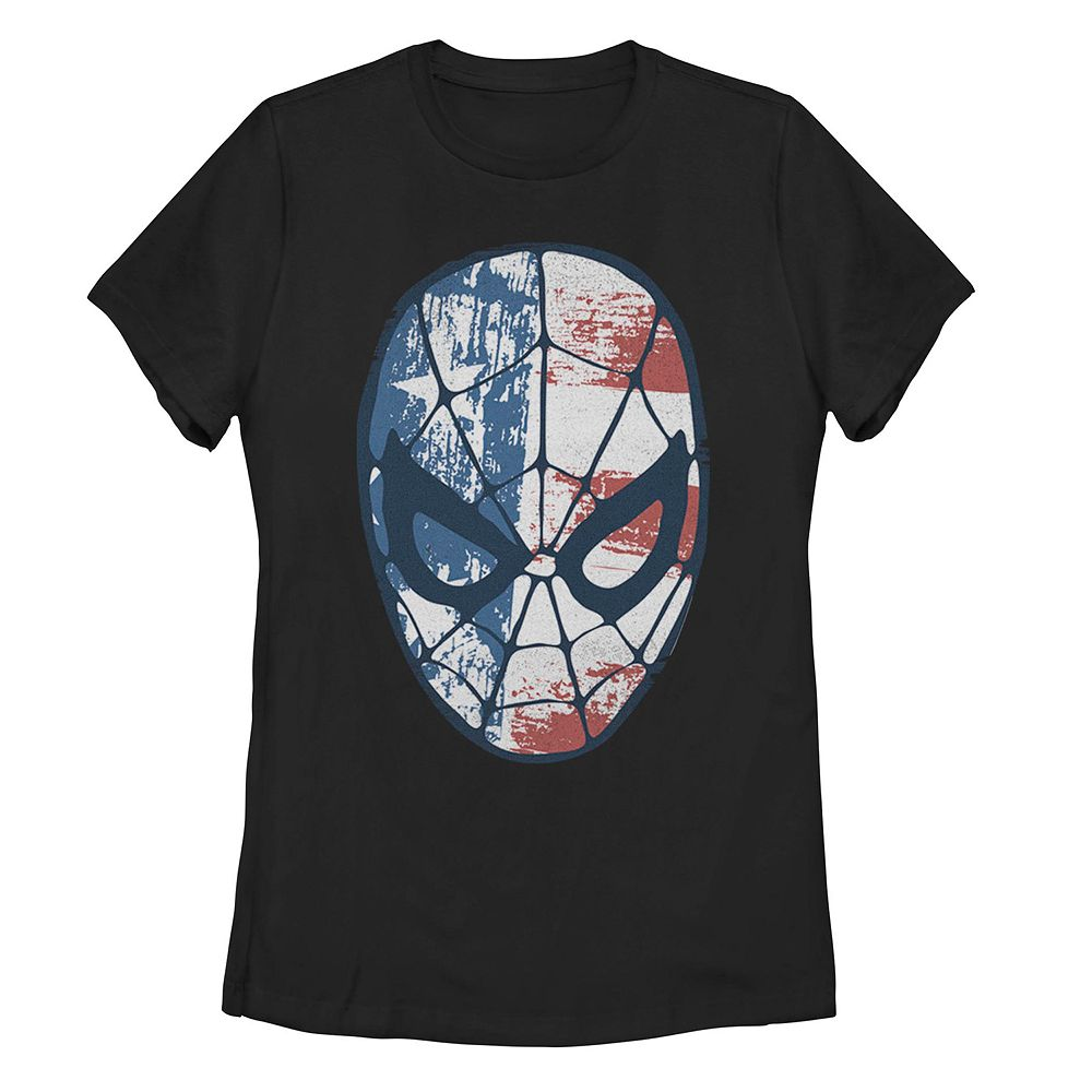 Juniors' Marvel Spider-Man American Flag Fill Mask Tee